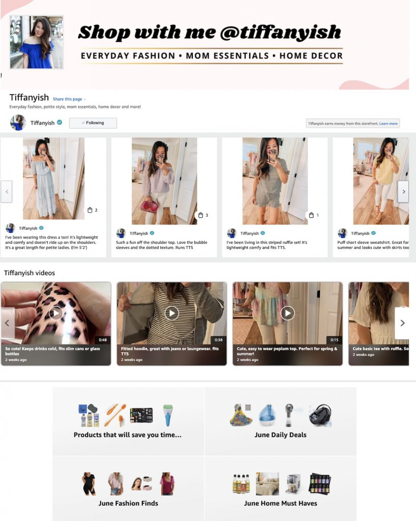 Amazon Influencer Shop Page